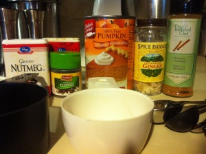 Ingredients for Pumpkin Spice Syrup